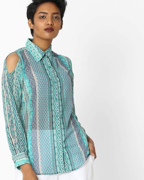 Printed Shirt With Cold Shoulders By RIDRESS ( Multi )