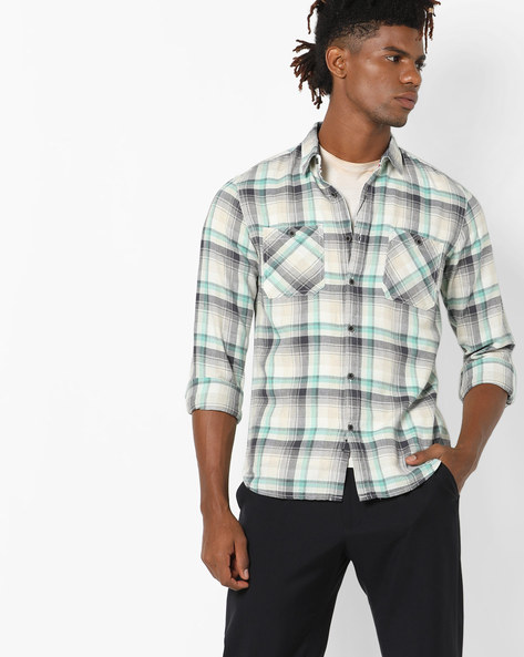 Checked Shirt With Patch Pockets By AJIO ( Olive )
