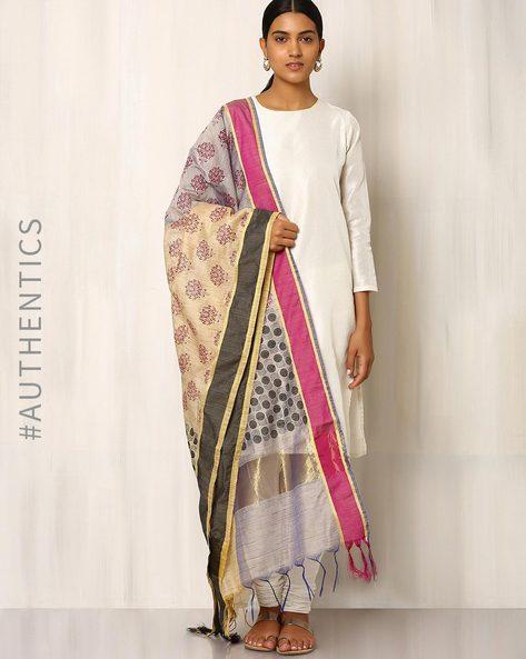 Handblock Print Chanderi Silk Cotton Dupatta By Indie Picks ( Peach )