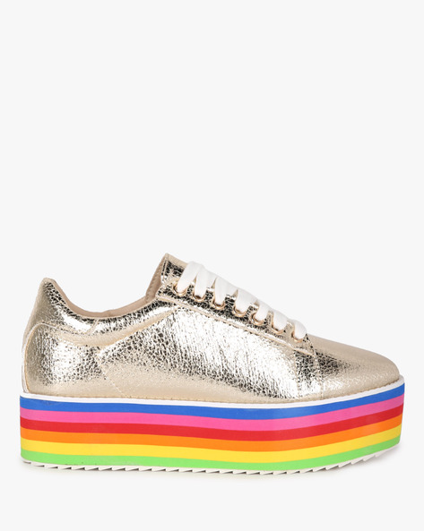 Low-Top Lace-Up Flatform Sneakers By MFT Couture ( Multi )
