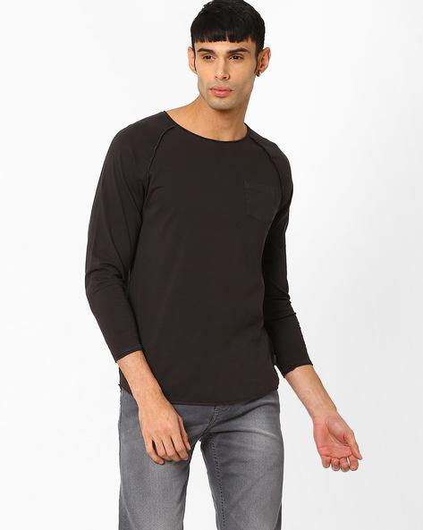 Crew-Neck T-shirt With Raglan Sleeves By Jack & Jones ( Black )