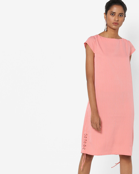 Striped Shift Dress With Tie-Up By AJIO ( Coral )