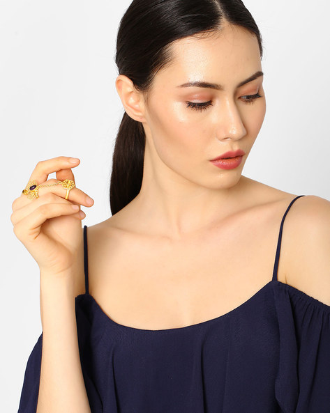 Brass Honeycomb Double Ring By AJIO ( Gold )