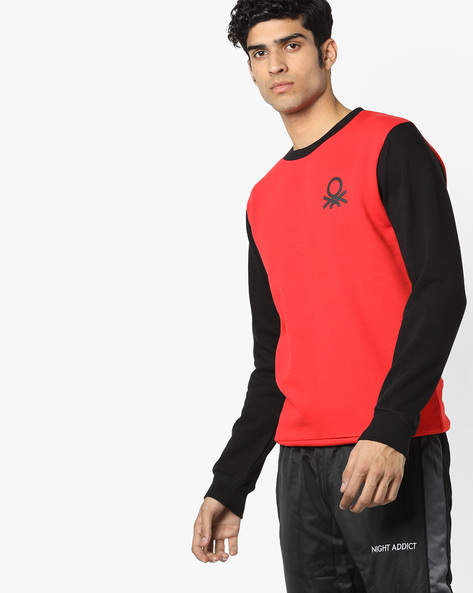 Colourblock Crew-Neck Sweatshirt By UNITED COLORS OF BENETTON ( Red )