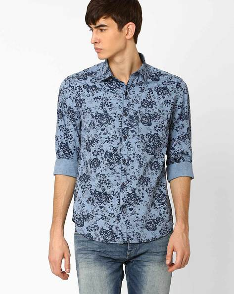 Floral Print Slim Fit Shirt By JOHN PLAYERS ( Blue )