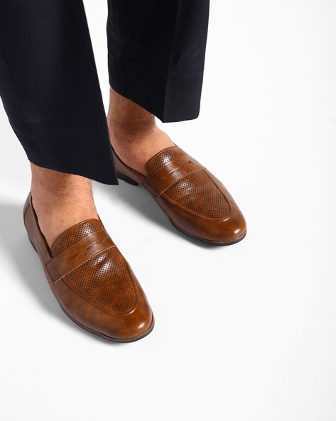 Textured Penny Loafers By Modello Domani ( Tan )