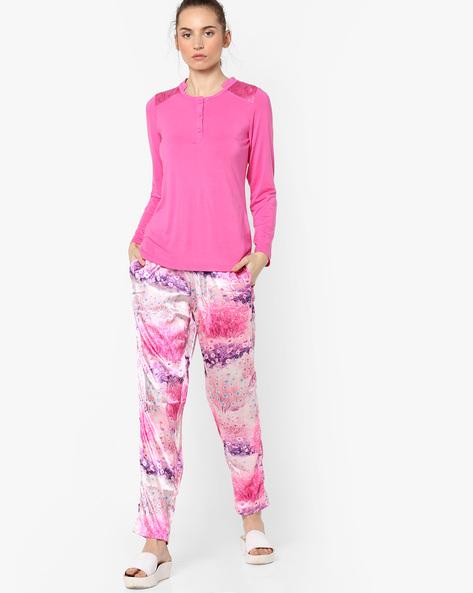 Printed Satin Pyjamas With Top By Sweet Dreams ( Pink )