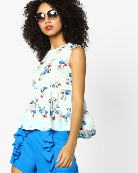Floral Printed Tiered Top By AJIO ( Mint )