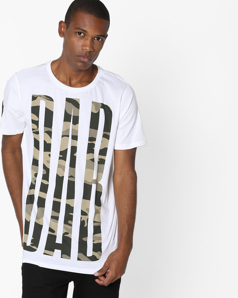 Typographic Camo Print T-shirt By ADAMO LONDON ( Greymelange )