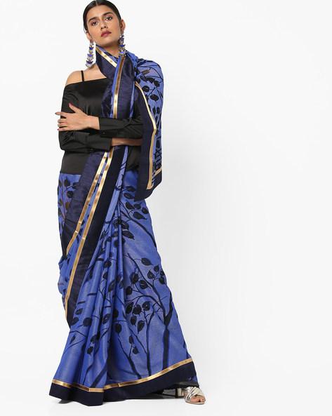 Leaf Print Brasso Lace Saree By Vastrangi ( Blue )