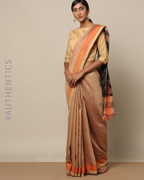 Handloom Jacquard Pallu Saree With Fringes By Indie Picks ( Orange )