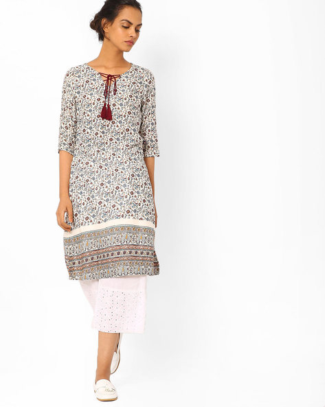 Printed Straight Kurta With Tie-Up By Juniper ( Offwhite )