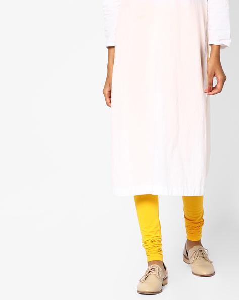 Mid-Rise Churidar Leggings By AJIO ( Yellow )