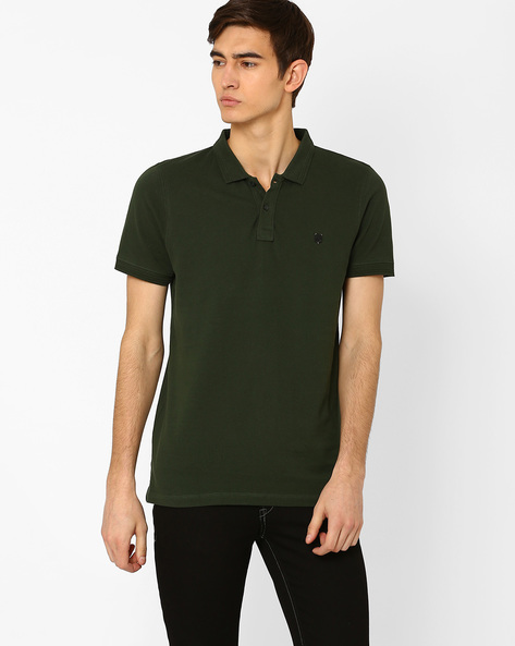 Polo T-shirt With Metal Branding By Lee ( Green )