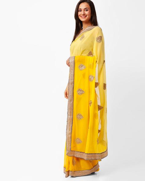 Zari Embroidery Chiffon Saree By Florence ( Yellow )