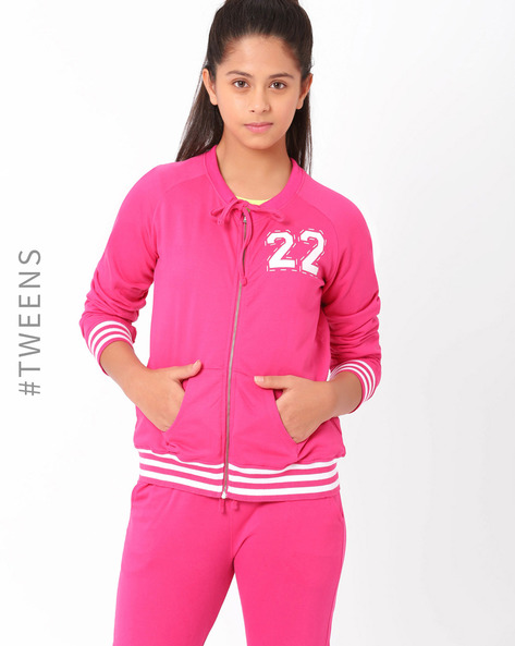 Sweatshirt With Zipper By AJIO ( Pink )
