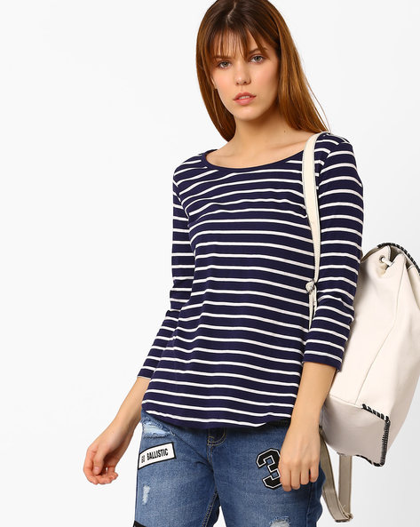 Striped Top With Curved Hem By Fame Forever By Lifestyle ( Navy )