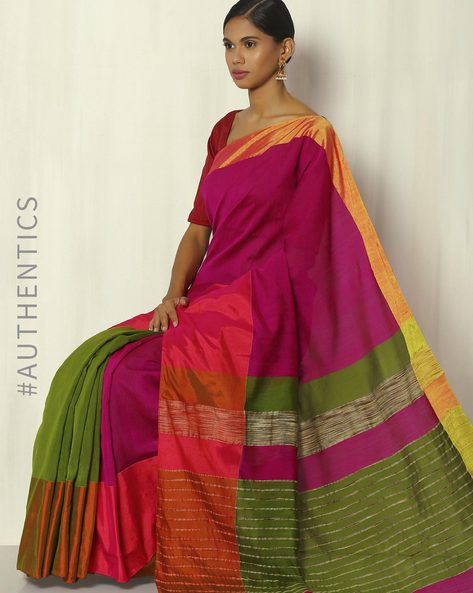 Handwoven Bengal Cotton Saree With Ghicha Pallu By Indie Picks ( Magenta )