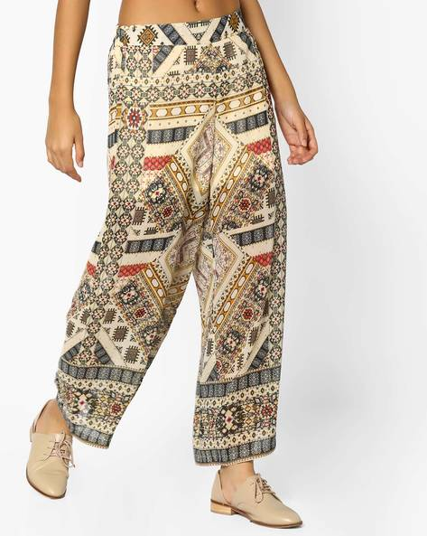 Printed Palazzos With Elasticated Waist By Melange By Lifestyle ( Yellow )