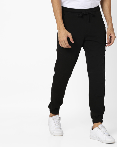Panelled Joggers With Elasticated Waistband By AJIO ( Black )