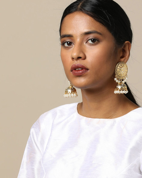 Gold Brass Jhumka With Pearl Drops By Spargz ( Gold )