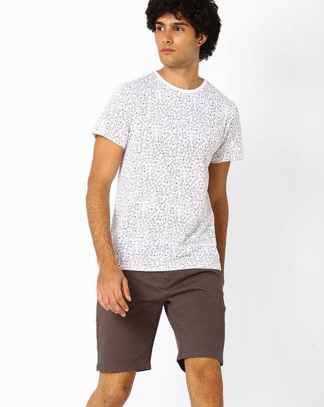 Printed Crew-Neck Slim T-shirt By Atorse ( Black )