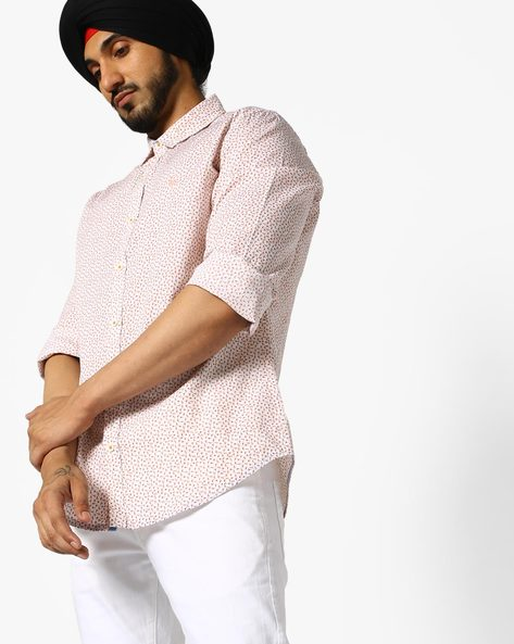 Micro-Floral Print Cotton Shirt By UNITED COLORS OF BENETTON ( White )