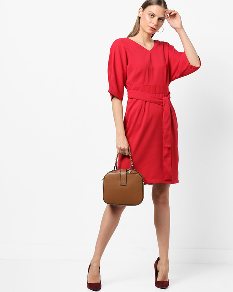 V-neck Sheath Dress With Back Cutout By AJIO ( Red )