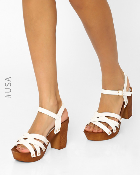 Strappy Sandals With Chunky Heels By QUPID ( White )