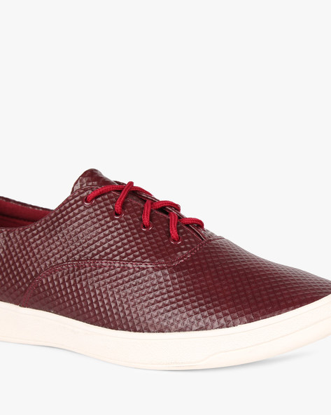 Sneakers With Textured Upper By AJIO ( Maroon )