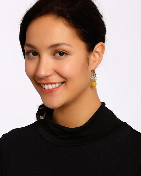 Gold-Plated Dangler Earrings By Shabnam Gitanjali ( Yellow ) - 460012296001