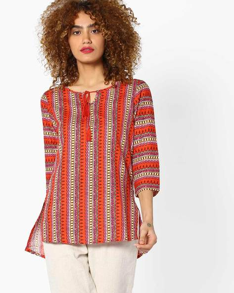 Printed Top With Tassel Tie-Up By Global Desi ( Printed )