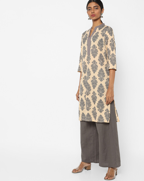 Printed Tunic With Mandarin Collar By AJIO ( Beige )