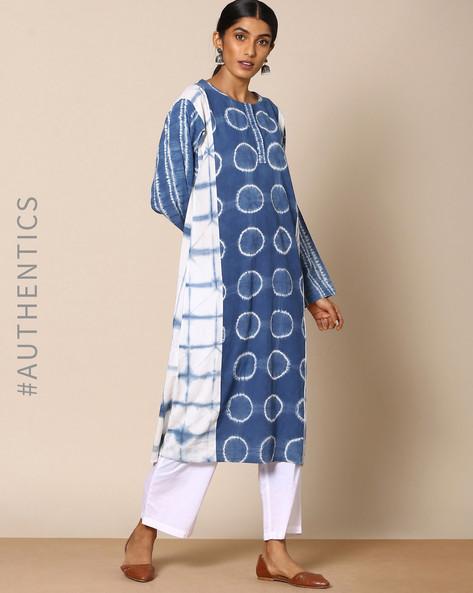 Hand Tie-Dyed Shibori Indigo Cotton Straight Kurta By ANANDA ( Indigo ) - 460095161003