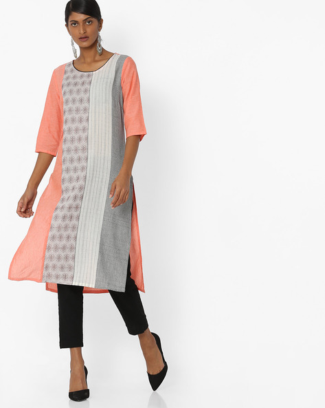 Woven Straight Kurta By AURELIA ( Orange )
