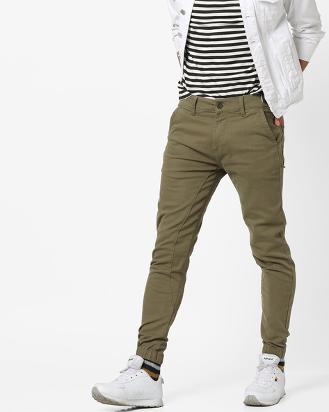 Mid-Rise Flat-Front Chinos By WRANGLER ( Olive )