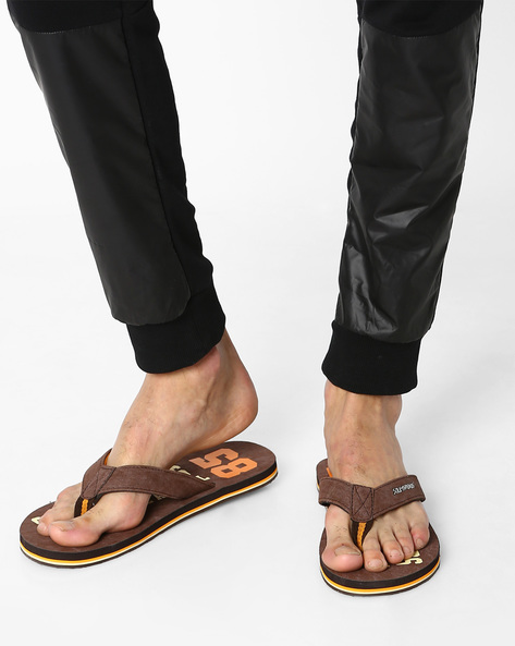 Graphic Print Thong Style Flip-Flops By Sole Threads ( Brown )