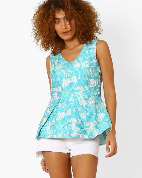 Jacquard Peplum Top By AJIO ( Aqua )