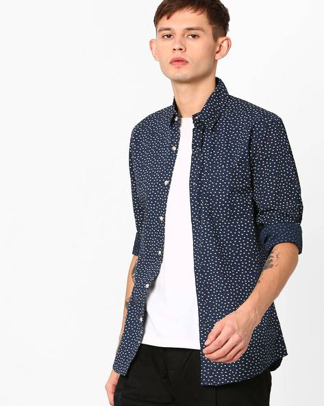 Printed Slim Fit Shirt By WRANGLER ( Navy )