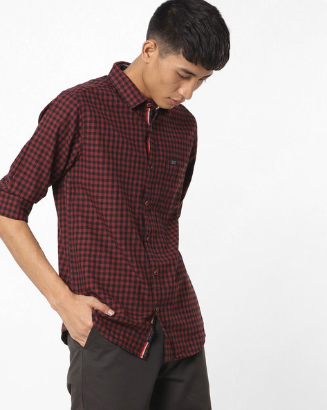 Slim Fit Checked Shirt With Patch Pocket By The Indian Garage Co ( Maroon )