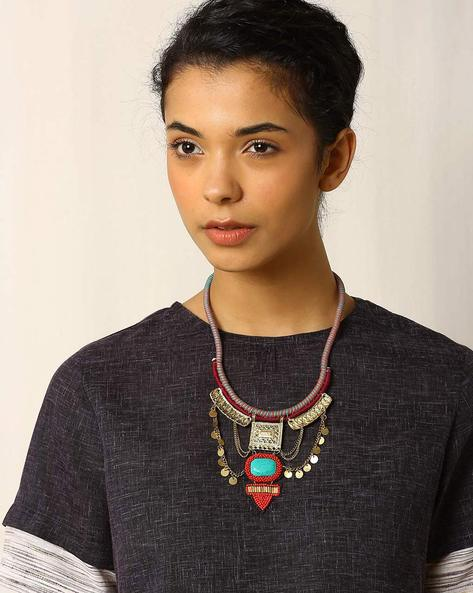 Glass Beaded Metal Necklace By Indie Picks ( Multi )