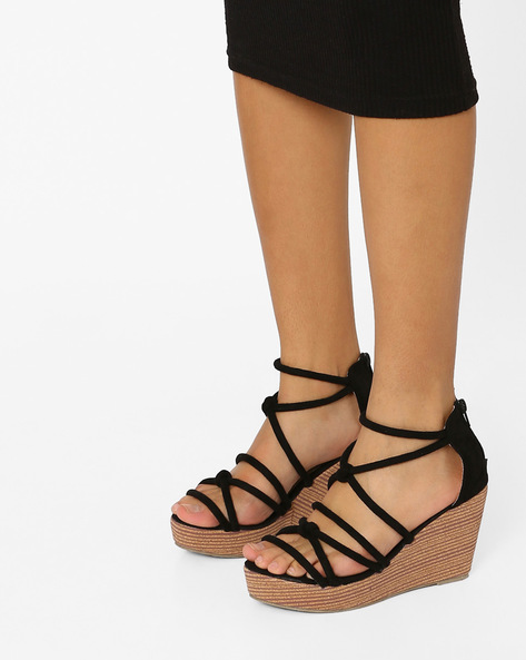 Strappy Wedges With Zipper By MFT Couture ( Black )