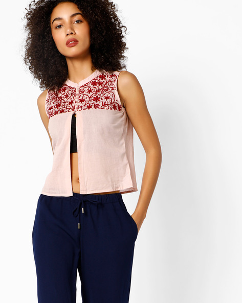 Sleeveless Top With Floral Embroidery By COLOUR ME ( Pink )