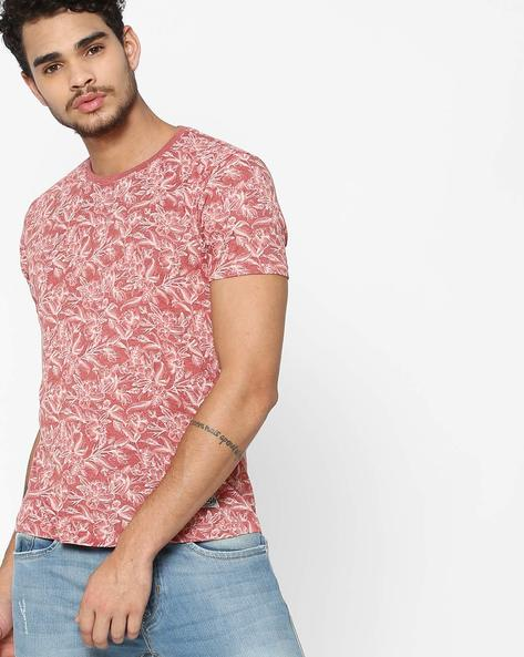 Slim Fit Floral Print Crew-Neck T-Shirt By FLYING MACHINE ( Assorted ) - 460100990002