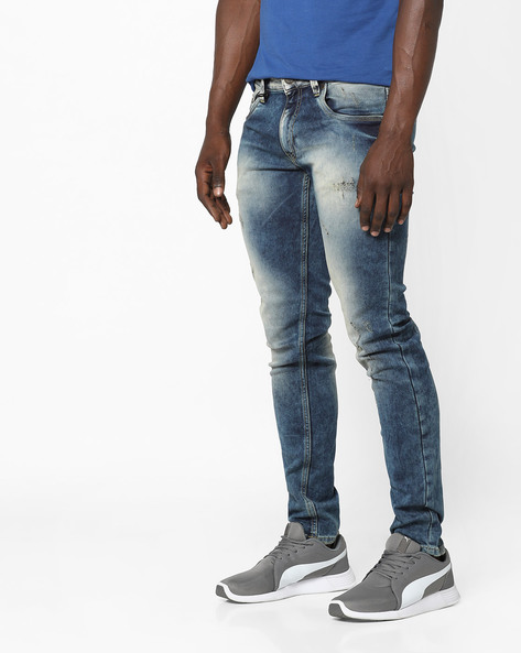 Glen Distressed Slim Fit Jeans By Jack & Jones ( Blue )