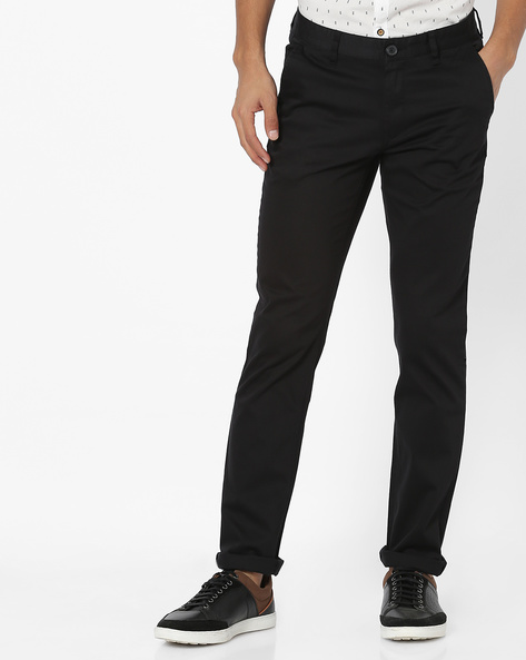 Slim Fit Flat-Front Trousers By JOHN PLAYERS ( Black )