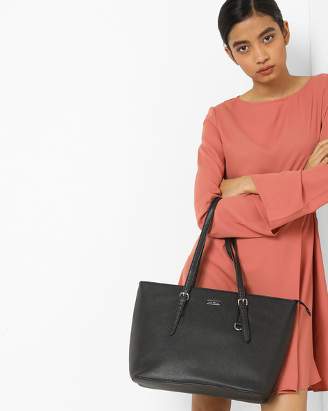Textured Tote Bag By Lino Perros ( Black )