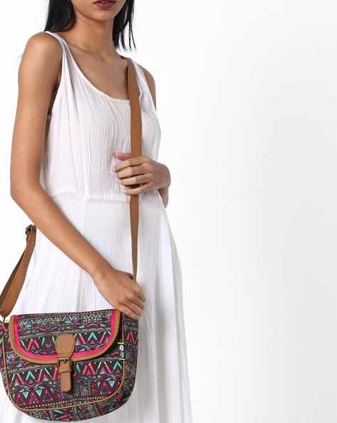 Geometric Digital Print Canvas Sling Bag By Kanvas Katha ( Tan ) - 460124262001