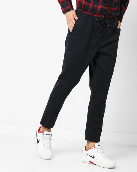 Woven Trousers With Drawstring Waist By AJIO ( Navy )