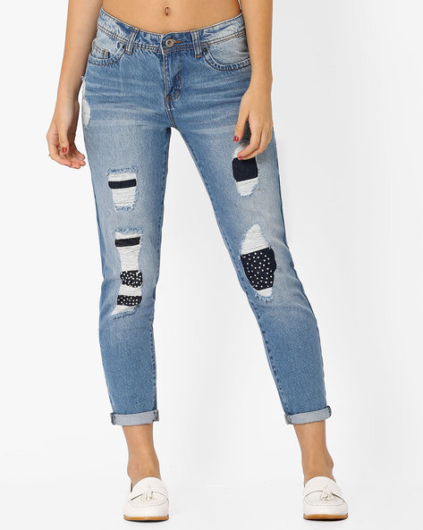 Distressed Jeans With Embellishments By AJIO ( Lightblue )